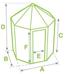 Octagonal greenhouse dimensions diagram