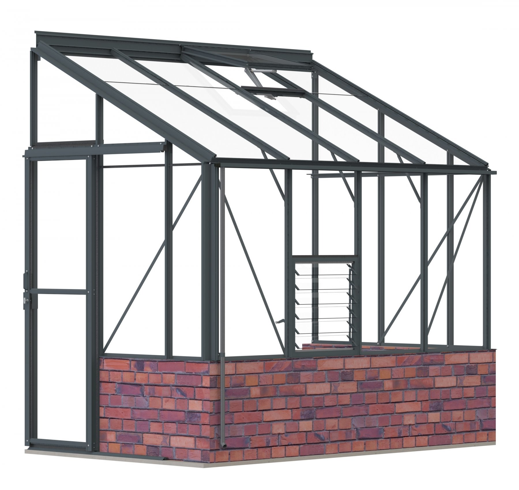 Lean-To 5ft4 x 8ft8 Anthracite **DWARF WALL**