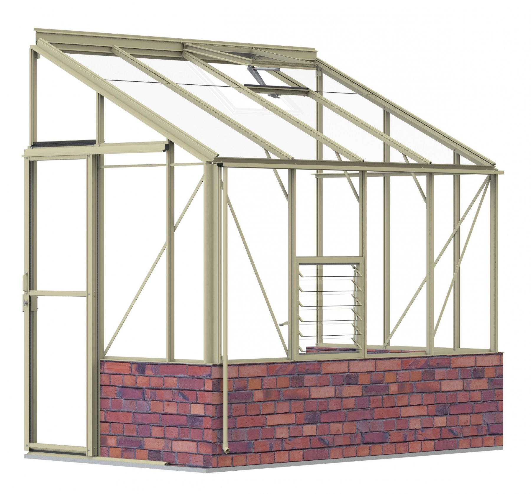 Lean-To 5ft4 x 8ft8 Ivory **DWARF WALL**