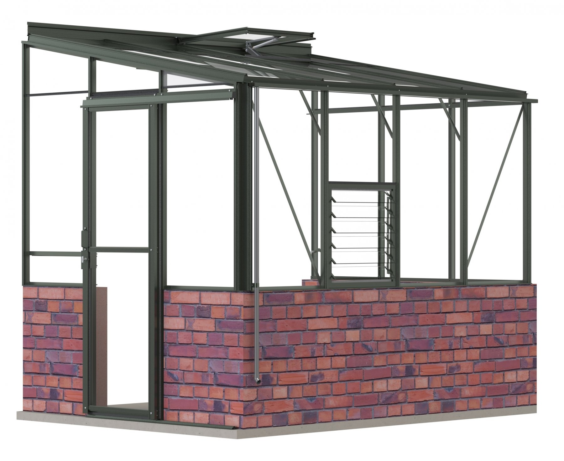 Lean-To 6ft5 x 8ft8 Anthracite **DWARF WALL**