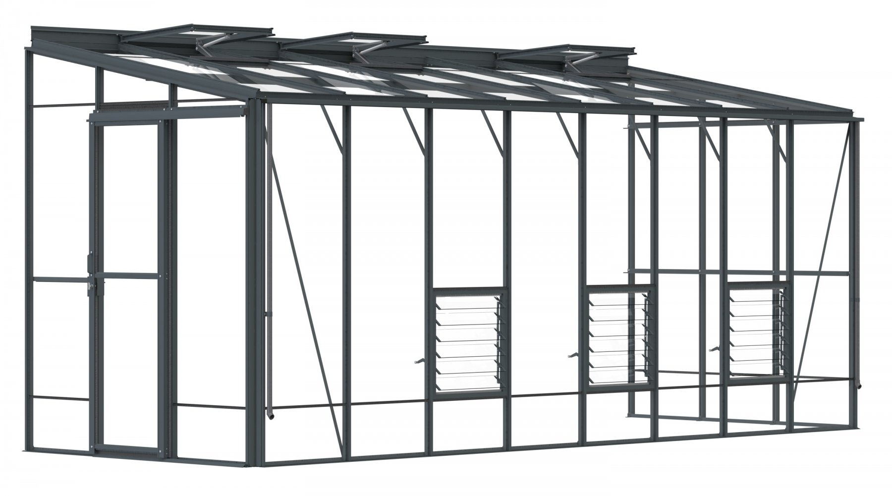 Lean-To 6ft5 x 16ft9 Anthracite