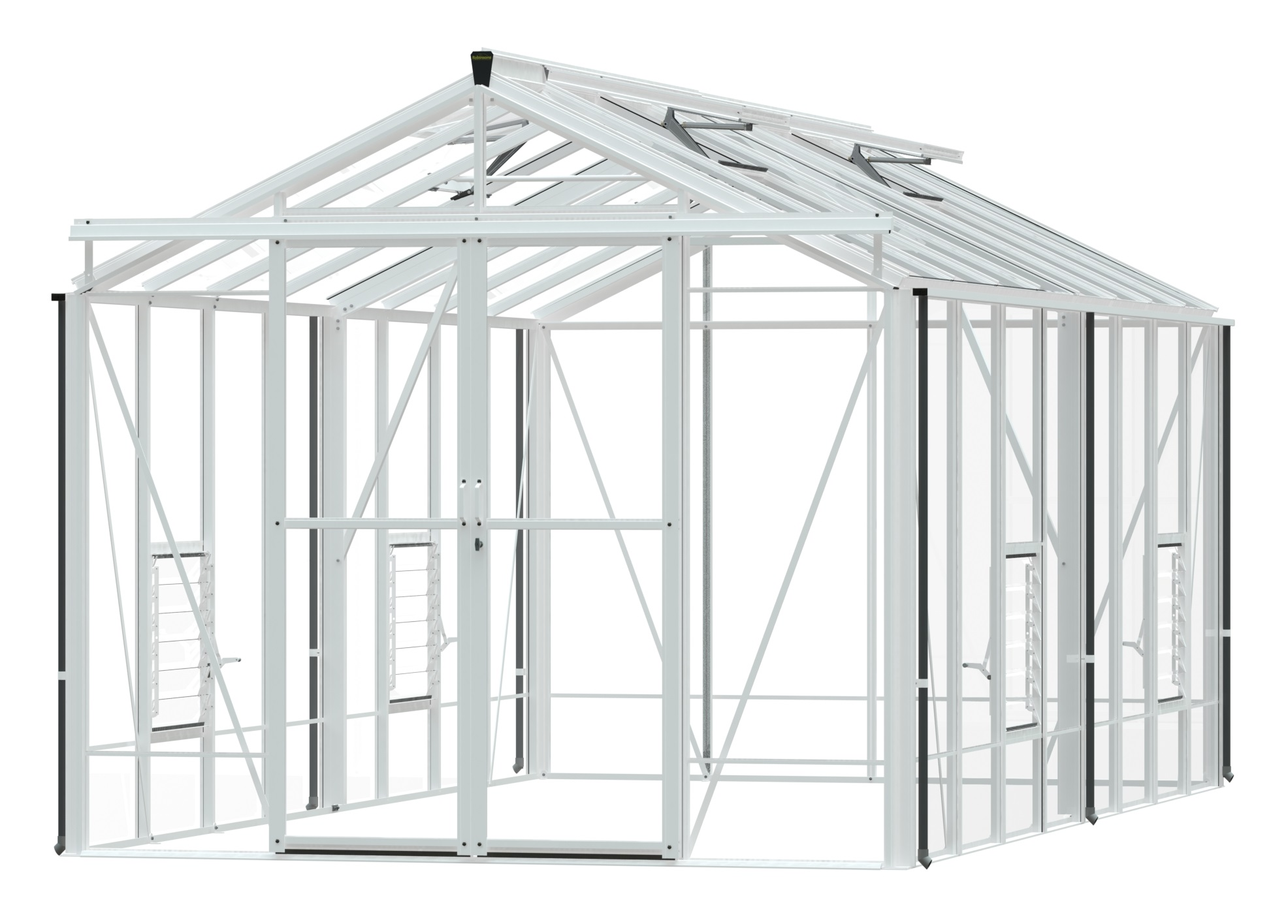 Robinsons Royale 8x16 white aluminium greenhouse