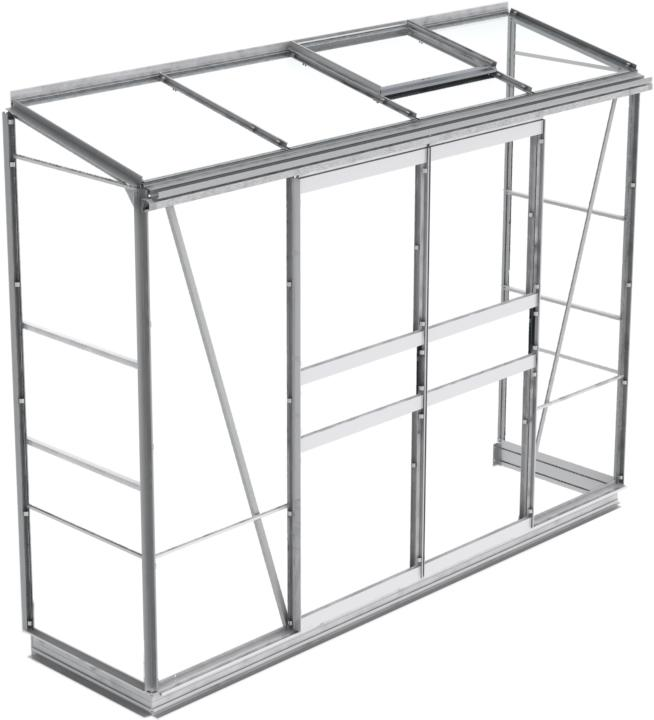 simplicity mini leanto plain aluminium greenhouse 2ft2 wide 667mm x 8ft3 long 2530mm