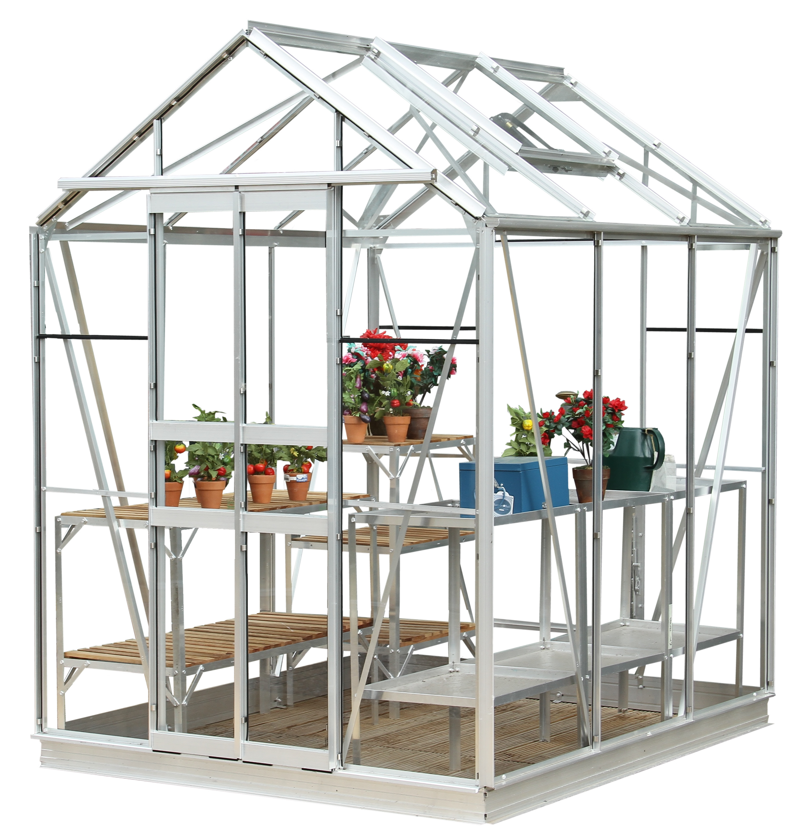Simplicity Stafford Plain Aluminium Greenhouse 5x6 Starter Package