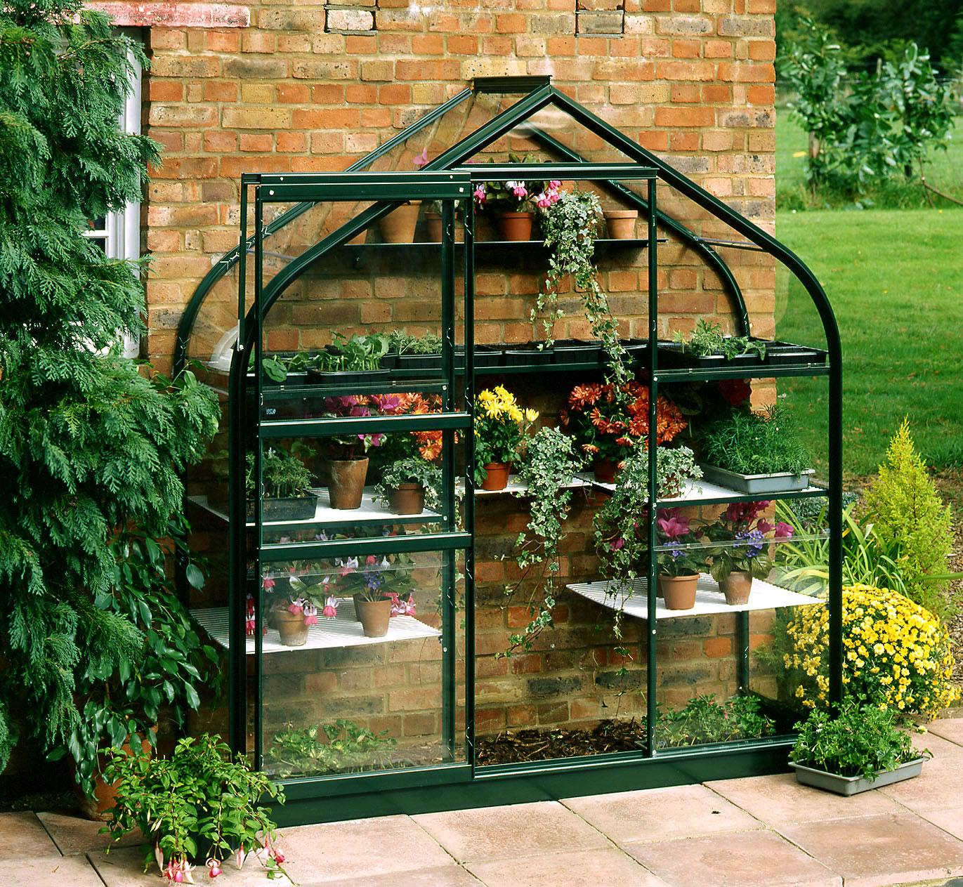 Halls Supreme Wall Garden Green Greenhouse 6ft3 Wide (1928mm) X 2ft3 Long  (710mm)