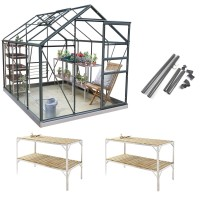 Simplicity Classic in Old Cottage Green 6x8 greenhouse **Professional package**