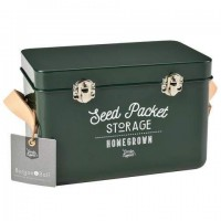 Leather Handled Seed Packet Storage Tin - Frog Green