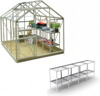 Classic 6ft x 8ft Pastel Sage Greenhouse Professional Package