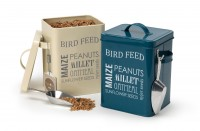 Bird feed tin in petrol blue