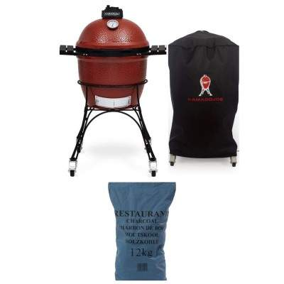 "Bundle Premium Set Classic Joe Grill, 18"", Red + Grill cover+12 kg Lumpwood Charcoal"